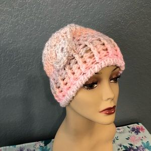 Hand crochet pink pastel hat with flower